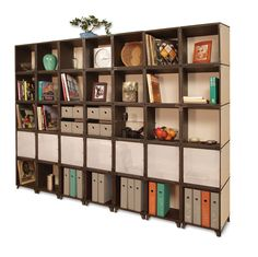 Looking for unique wall shelving? The modern, stylish, and eco-friendly Yube Extra Wide Wall Unit is easy to build and can be customized to fit your needs and style. With 35 Yube cubes, this extra-wide unit takes the cake when it comes to storage and display options. Put the wall unit in any large room or hallway and your storage and display needs are instantly met.