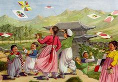 Vintage 1946 Korean Art print. ~