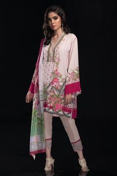 Sapphire Festive Collection 2019 Pakistani Salwar Kameez, Pakistani Suits, Pakistani Dresses, Pink Fabric, Green Fabric, Silk Dupatta, Western Dresses, M Color, Winter Collection