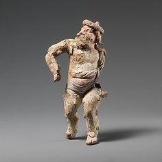 Terracotta statuette of a satyr,Early Hellenistic period,4th century BC  Greek,South Italian,Tarantine