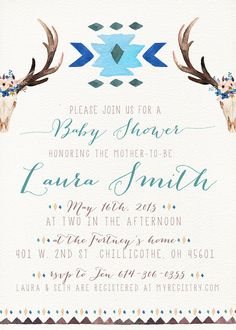 Boho Baby Shower Invitation Unique Boy Antler by kreynadesigns