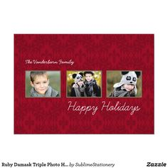 Ruby Damask Triple Photo Holiday Flat Cards
