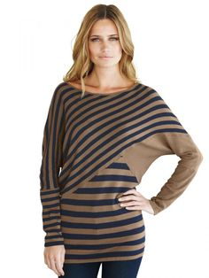 Long line striped sweater