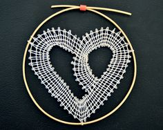 paličkované srdce/ bobbin lace heart