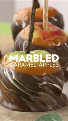 Take classic caramel apples up a notch with a triple-dip. This gourmet caramel apple recipe dips apples in caramel, chocolate, and vanilla candy coating! The result is a stunning swirl marbled effect to your dipped apple. #caramelapples #gourmetcaramelapples #chocolatedippedapples #falldesserts #bhg Apple Recipes, Fall Recipes, Holiday Recipes, Dip Recipes, Gourmet Caramel Apples, Apple Dip, Salty Snacks, Candy Apples, Summer Desserts