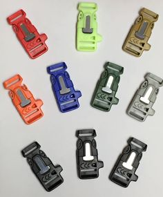 Our Multicolored Firesteel Buckles come with the emergency whistle and the fire starter & scraper all in one. These fire starter buckles should be part of your EDC in some form or fashion. This multic