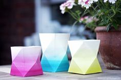 Kostenlose Anleitung: DIY Projekt Origami-Sommerlichter im Ombre Look / free diy tutorial: ombre candle stands, summer party via DaWanda.com