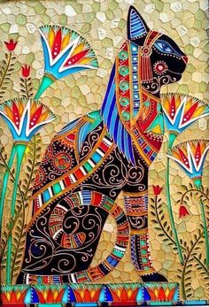 Sacred Animals in Ancient Egypt Art And Illustration, Ancient Egypt Art, Ancient Artifacts, Ancient Aliens, Ancient Greece, Frida Art, Egyptian Cats, Whimsical Art, Mosaic Art