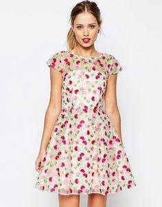 Image 1 ofASOS SALON Pretty Floral Embroidered Mini Skater Dress