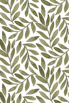 Green watercolor leaves on white. This beautiful botanical design was created b… Green watercolor leaves on white. This beautiful botanical design was created by indie designer bluebirdcoop. Available on fabric, wallpaper, and gift wrap. Halloween Backgrounds, Cute Wallpaper Backgrounds, Cute Wallpapers, Vintage Wallpapers, Trendy Wallpaper, Green Backgrounds, Phone Wallpapers, Aesthetic Backgrounds, Aesthetic Iphone Wallpaper