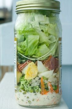 Salad On The Go! Cobb Salad, Tex Mex Salad, and Japanese Salad Mason Jar Recipes Like for more