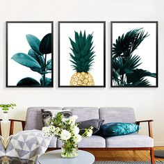 Cheap wall pictures, Buy Quality picture for room directly from China art print Suppliers: 2017 New Nordic Style Golden pineapple Print Canvas Art Print, Simple Fresh Leaf  Wall Pictures For  Room Decoration no frame SJ