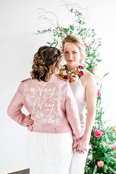 Wifey for Lifey Pink Leather Jacket for Bride. Photo by Anamaria Vieriu Photography. Bella Bridal, Wedding Day Jewelry, Pink And Gold Wedding, Wedding Jacket, Bride Accessories, Pink Leather, Wedding Details, Wedding Inspiration, Flower Girl Dresses