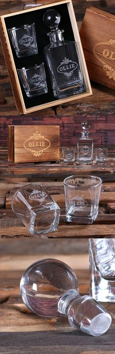 Love This : Personalized Whiskey Decanter with Two Rocks Glasses in Wood Gift Box
