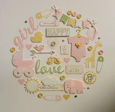 """Baby Girl Wall Hanging - Created by Sandy Mott - using primarily """"Something for Baby"""" stamp set and framelits bundle."""
