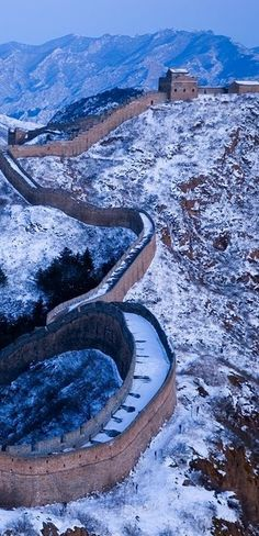 Jinshanling section of the Great Wall in winter, China