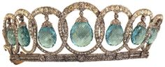 The Queen Ena Aquamarine Tiara - It was originally was Queen Victoria Eugenie of Spain and was made by Ansorena with drop pearls vs aquamarines. It was left to her daughter Infanta Beatriz who had Bulgari redesign the piece as it had weakened over time. The tiara was given to her daughter Olimpia.  It was last seen recently when Olimpia's daughter Princess Sibilla of Luxembourg worm it at her nephew's wedding.
