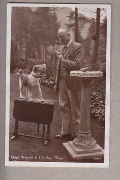 1920's - Hugh Wapole and His Dog (a wire fox terrier)