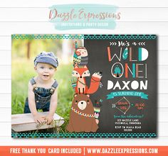 Printable Chalkboard Wild One Tribal Woodland Birthday Invitation | DIY 1st Birthday Party | Boys First Birthday | Bear, Fox, Owl | Bow and Arrows | Animals | Cupcake Toppers | Favor Tags | Signs | Water Bottle Labels | Banner | Matching Party Package Decor Available.
