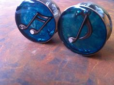 """1 1/8"""" Stainless Steel Music Notes Blue Resin Plugs. $30.00, via Etsy."""