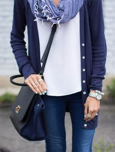 Weekend: White Tee + Navy Cardi + Big Back Purse + Jeans + Watch