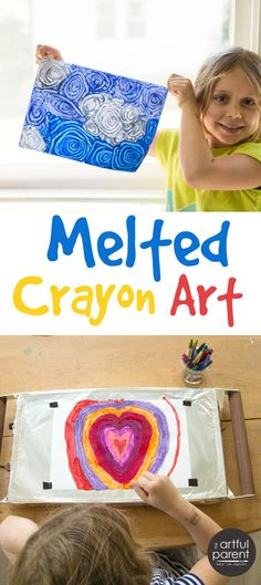 Melted crayon art is one of our favorite kids art activities, but we weren't doing it right until now. A thrift-store warming tray makes all the difference!