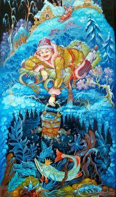 """Сказка """"По щучьему веленью"""" http://russkaja-skazka.ru/po-schuchemu-veleniy/ Слез Емеля с печки, обулся, оделся, взял ведра да топор и пошел на речку. Прорубил лед, зачерпнул ведра и поставил их, а сам глядит в прорубь. И увидел Емеля в проруби щуку... #сказки #картинки #ЕмеляЩука #art #Russia #Россия #добро #дети #иллюстрации #paint #картины #художник #RussianFairyTales @russkajaskazka"""