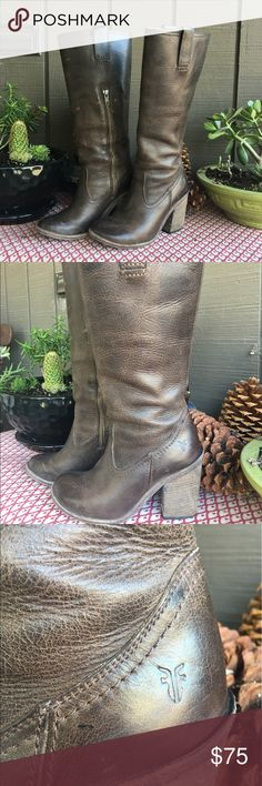 Frye Boots size 6 Beautiful worn brown high heel boots by Frye. I love them with shorts, mini skirts, and skinny jeans. Worn leather but looks the part. Pretty high heels--one of the main reasons I am posting on Posh. Frye Shoes Heeled Boots