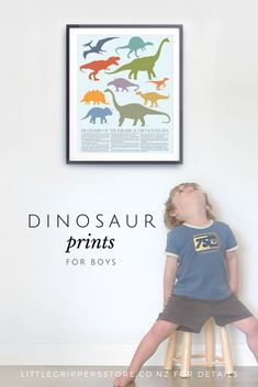 This Dinosaur print brings together a collection of toddlers favourite dinosaurs into a wonderful piece of decor for toddlers rooms. This dinosaur poster has facts of each Dinosaur listed underneath, the write up is written below. The perfect edcuational Toddler Room Decor, Nursery Room Decor, Playroom Decor, Nursery Prints, Kids Decor, Kids Room, Boy Room, Boys Dinosaur Bedroom, Dinosaur Nursery