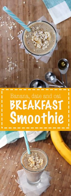 This easy Banana, Date and Oat breakfast smoothie is packed with healthy fruit and fibre. It's the perfect quick and easy go-to for breakfast! Date Smoothie, Breakfast Smoothies, Healthy Fruits, Oatmeal, Vegetarian, Banana, Tasty, Meals, Drinks