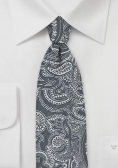 Paisley-Motiv-Krawatte dunkelgrau Baumwolle