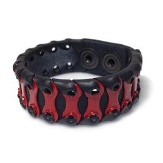 Awesome unique leather bracelets, made of chain links and recycled bicycle inner tube. Perfect for a bicycle-loving fashionista.