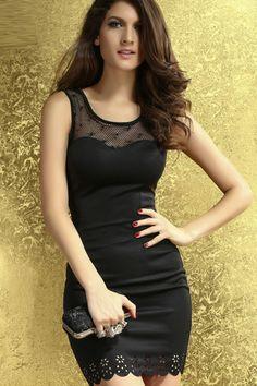 Black Sleeveless Lace Neckline Bodycon Dress