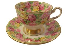 English vintage bone china cup and saucer by Rosina Royal Stafford