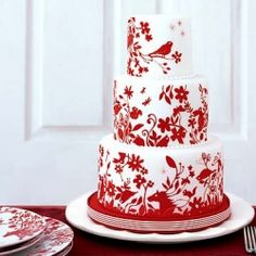 #Red and #white #wedding #cake - gorgeous!