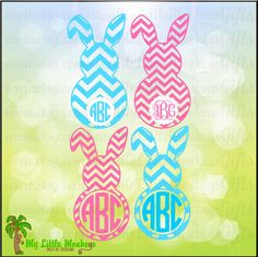 Floppy Ear Chevron Bunny Monogram Base Wide  Narrow Chevron Digital Designs Cut File & Clipart Instant Download SVG EPS DXF Png Jpeg File - pinned by pin4etsy.com