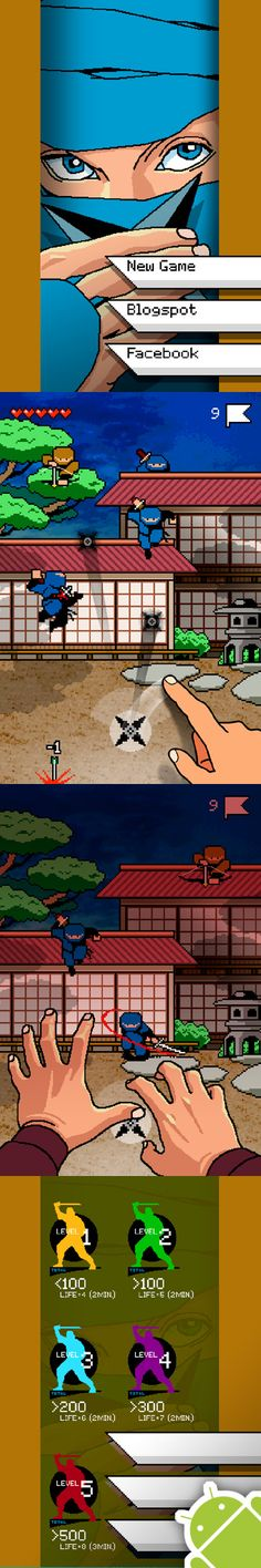 Shuriken War // FREE Android game // 8-bit // Can you defend your clan until the sunrise?