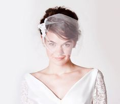 Whimsy Lace and Tulle Birdcage Veil. $59.00, via Etsy.