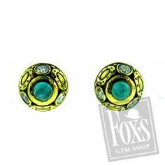 "Alex Sepkus 18K ""Oval Work"" stud earrings with cabochon Paraiba Tourmaline and Diamonds"