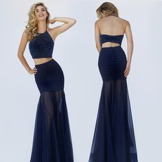 Sleeveless Two Piece Halter Sherri Hill Long Prom Dress