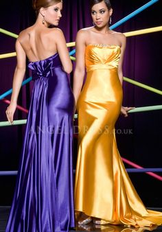 A line Strapless Sleeveless Zipper up Floor Length Elastic Silk Like Satin Prom Dress