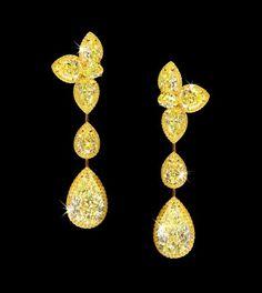 Jewel of the day: David Morris canary diamond earrings. Graff Jewelry, Gems Jewelry, High Jewelry, Wire Jewellery, Antique Jewellery, Diamond Drop Earrings, Diamond Jewelry, Stud Earrings, Diamond Stud