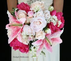 Mixed Pink wedding flower bouquet with stargazer lilies, hot pink peonies, and a mixture of blush and light pink roses
