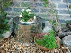 The cylinder from a washing machine has been used as a modern looking cache pot for a plant.