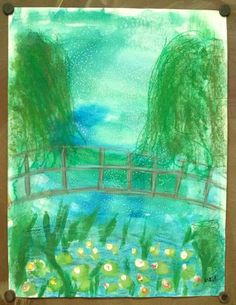 Monet inspired water-lilies and bridge. 3rd grade