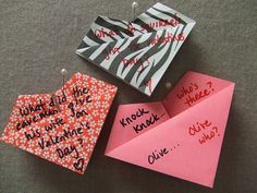 Little origami hearts to say I love you or crack your Valentine up with a silly joke!