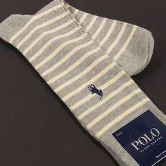 POLO RALPH LAUREN Men's Striped Socks Pony Embroidery GRAY HEATHER One Size NWT #PoloRalphLauren #Dress