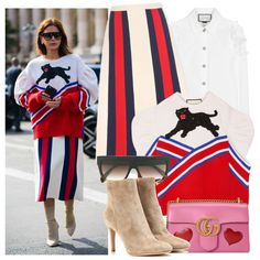 Street Style PFW by justadream133 on Polyvore featuring Gucci, Gianvito Rossi, CÉLINE, StreetStyle, PFW and PFWSS2017