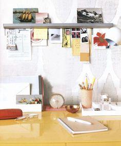 restaurant ticket bar as a desk organizer (originally from Martha Stewart Living) available at Restaurant Supply stores.