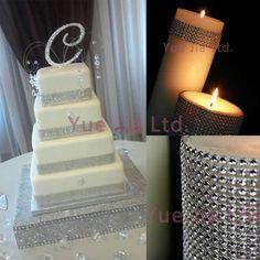 "4.75""x15 FT silver Diamond sparkle Rhinestone Wraps Ribbon Wedding Decoration US $7.99"
